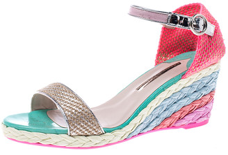 Sophia Webster Multicolor Lace And Leather Lucita Wedge Ankle Strap Espadrille Sandals Size 41.5