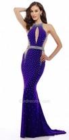 Nika Studded Halter Evening Dress