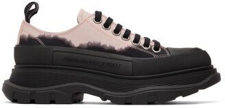 Alexander McQueen Black and Pink Dipped Tread Slick Low Sneakers