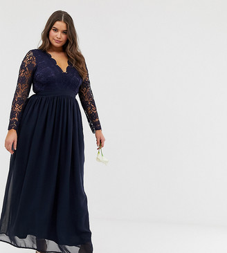 Club L London Plus Plus bridesmaid long sleeve crochet detail maxi dress-Navy