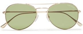 Tom Ford Aviator-style Gold-tone Sunglasses