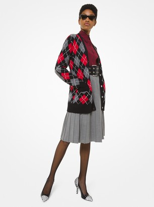 Michael Kors Collection Stud-Embroidered Argyle Cashmere Cardigan