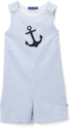 SAM. Sophie & Boys' Short Overalls Blue - Blue Pinstripe Anchor Overalls - Infant & Toddler
