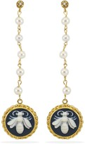 Vintouch Italy Bee Cameo & Pearls Earrings