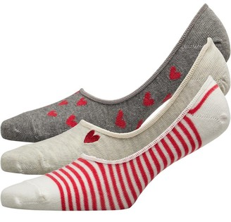 Lovestruck Womens Three Pack Heart Low Cut Footsie Socks Heart/Pale Grey