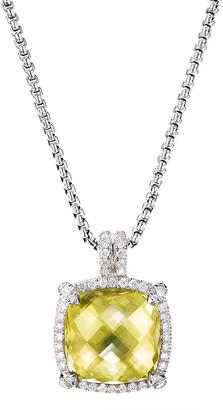 David Yurman Chatelaine Diamond Pave Pendant Necklace w/ Lemon Citrine