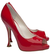 Brian Atwood Exclusive Patent Leather Peeptoe Pumps: Red
