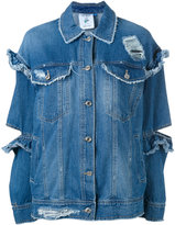 SteveJ & YoniP Steve J & Yoni P - ruffle cut denim jacket - women - Cotton - S