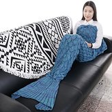 "Senmar Mermaid Tail Blanket knit crochet and Mermaid Blanket for Adult, Summer Super Soft Sleeping Bags(71""x 35"") (Lake Blue)"