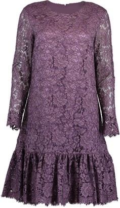 Adam Lippes Corded Lace Amethyst Long Sleeve Ruffle Hem Dress