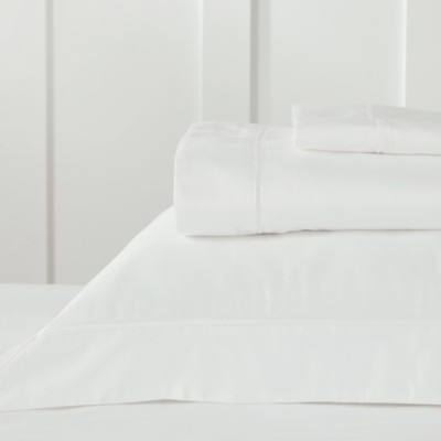 The White Company Soames Cupro Cotton Flat Sheet, Chalk, King