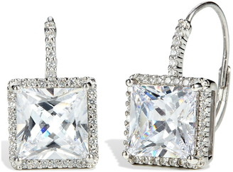 Savvy Cie Sterling Silver Square CZ Leverback Earrings