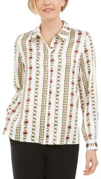 Kasper Petite Chain-Print Collared Button-Up Blouse