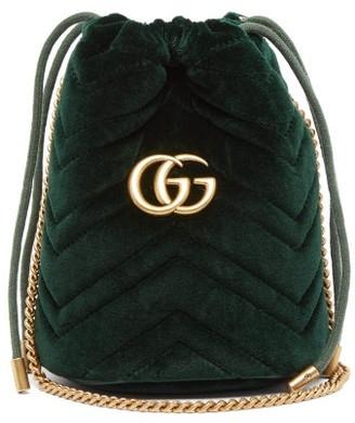 Gucci Gg Marmont Mini Quilted Velvet Cross-body Bag - Womens - Dark Green