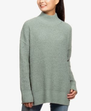 Hippie Rose Juniors' Mock-Neck Boxy Tunic Sweater