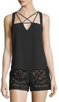 BCBGMAXAZRIA Raelyn Sleeveless Strappy Top, Black