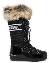Moon Boot Monaco Faux Fur-trimmed Piqué-shell And Faux Patent-leather Snow Boots - Black