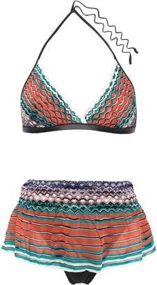 Missoni Mare Mare Layered Crochet-knit And Stretch-satin Triangle Bikini