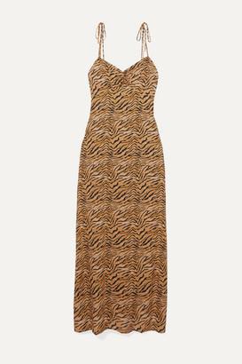 Vix Tiger-print Voile Maxi Dress - Tan