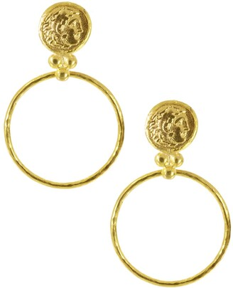 Ottoman Hands Gold Coin Front Hoop Earrings