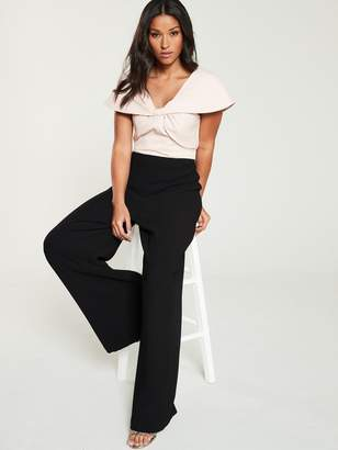 Very Bow Front Contrast Wide Leg Jumpsuit - Blush/Black