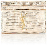 Saint Laurent Women's Monogram Card Case-GOLD