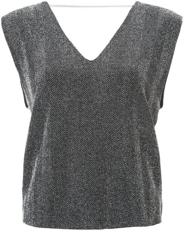Amiri v-neck herringbone blouse