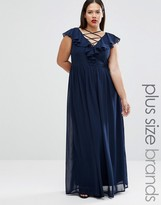 Club L Plus Maxi Dress With Lace Up Front And Ruffle Detail