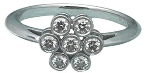 Tiffany & Co. 950 Platinum Flower 0.30tcw Diamond Ring Size 6