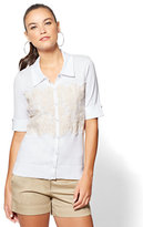 New York & Co. 7th Avenue - Lace Cardigan Twofer Top - White
