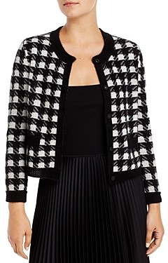 C by Bloomingdale's Houndstooth Cashmere Cropped Cardigan - 100% Exclusive