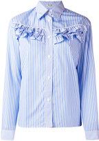 Miu Miu ruffled panel striped shirt - women - Cotton - 36