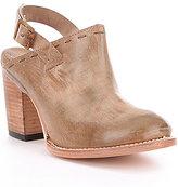 Freebird Gold Leather Sling Back Block Heel Clogs