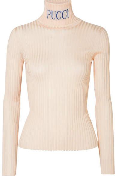Emilio Pucci Intarsia Ribbed-knit Turtleneck Sweater - Beige