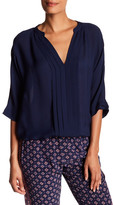 Joie Split Neck 3/4 Sleeve Pleat Silk Blouse