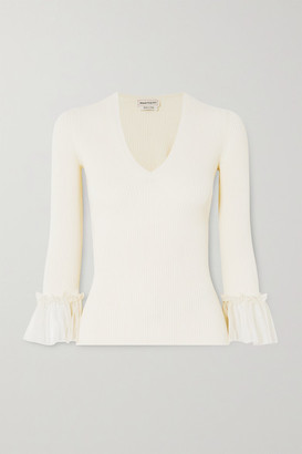 Alexander McQueen Ruffled Silk-trimmed Ribbed-knit Sweater - Ivory