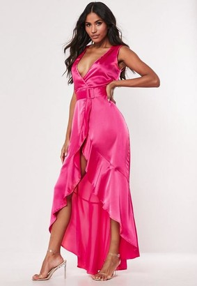 Missguided Hot Pink Satin Wrap Buckle Maxi Dress