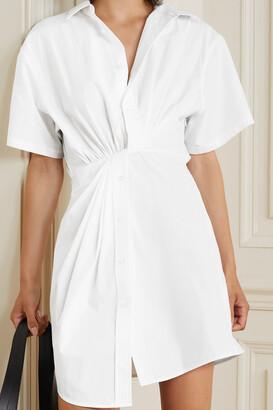 alexanderwang.t Twist-front Cotton-poplin Mini Shirt Dress - White