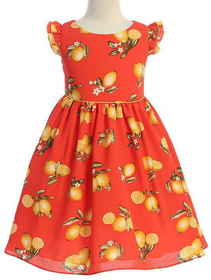 Ellie Kids Girls' Casual Dresses Red - Red & Orange Fruit Angel-Sleeve Dress - Toddler & Girls