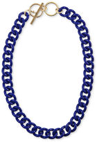 Rachel Roy Necklace, Gold-Tone Blue Chain Link Collar Toggle Necklace