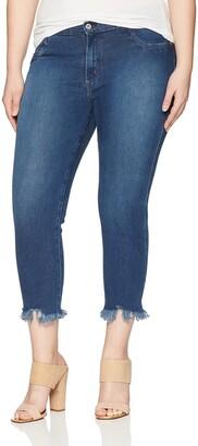 James Jeans Women's Plus Size Cropped Slim Leg Jean in Victory Fray 20W