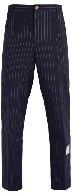 Thom Browne Chalk Stripe Cotton Chino Trousers - Mens - Navy
