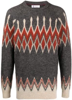 Brunello Cucinelli Crew-Neck Argyle Sweater
