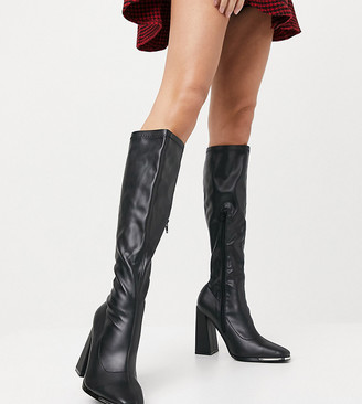 Public Desire Wide Fit Caryn stretch knee boots with toe plating in black