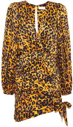 Ronny Kobo Ruched Leopard-print Silk-blend Satin-jacquard Mini Dress