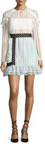 Self-Portrait Frill-Trim Paneled Lace Dress, White/Black/Baby Blue