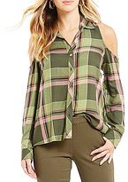 Takara Plaid Cold-Shoulder Top