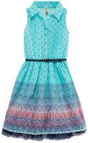 Knitworks Knit Works Belted Chiffon Shirtdress - Girls' 7-16