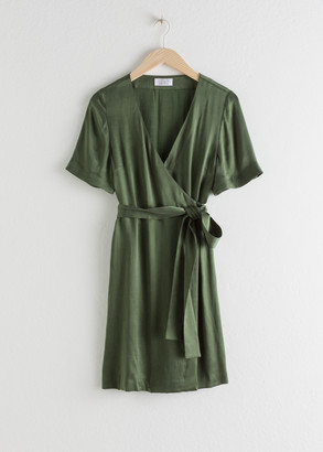 And other stories Cupro Blend Mini Wrap Dress