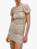 Thumbnail for your product : MANGO Floral Print Ruched Mini Dress, Pastel Pink